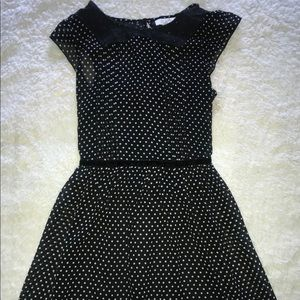Polka dot and black lace dress
